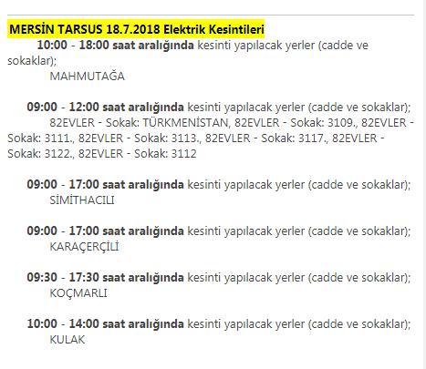MERSİN TARSUS 18.7.2018 Elektrik Kesintileri