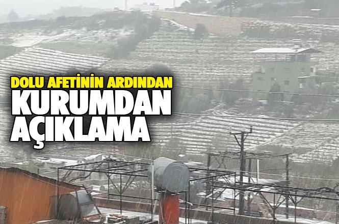 Mersin İl Tarım ve Orman Müdürlüğünden, Mersin'i Vuran 'Dolu Afeti' İle İlgili Önemli Açıklama