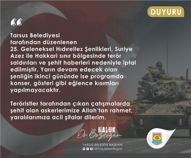 Tarsus Belediyesinden Hıdırellez Şenlikleri Kararı, Pazar Günü Konser ve Eğlence Yapılmayacak