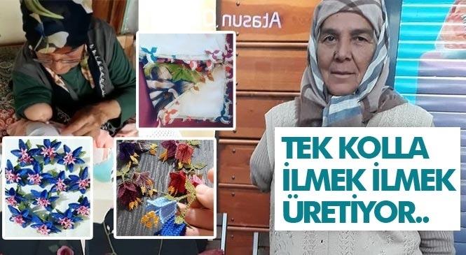 6 Yaşındayken Bir Kolunu Kaybeden Çamlıyaylalı Zeynep Şimşek, Tek Kolla Yaptığı İğne Oyasını Sosyal Medyadan Satarak Geçiniyor