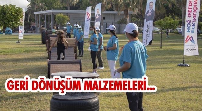 Mersin'deki İlçelere Geri Dönüşüm Malzemelerinden Seyyar Survivor Parkuru Yapıldı