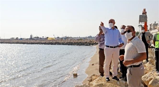Akdeniz Belediye Başkanı Gültak; Karaduvar Sahil Düzenleme Çalışmalarını Yerinde İnceledi