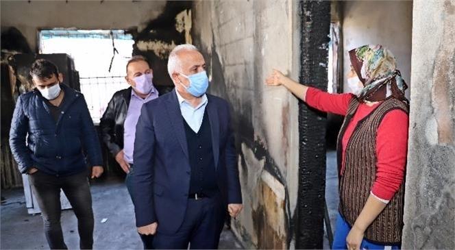 Akdeniz Belediye Başkanı Gültak'tan, Evi Yanan Aileye Destek