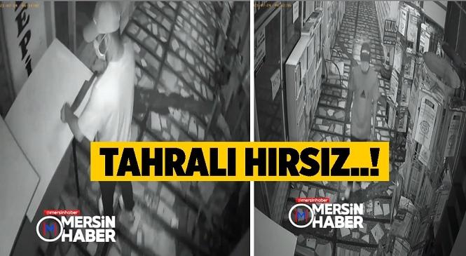 Mersin Tarsus'ta Tahra Kullanarak İşyerinin Kapısını Açan Hırsız, Bilgisayarı ve Kasadaki Paraları Çaldı