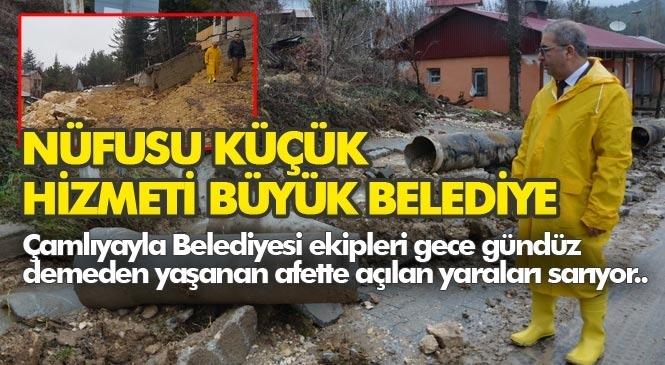 """Çamlıyayla 24 Saattir Ayakta """"Nüfusu Küçük Hizmeti Büyük Belediye"""""""